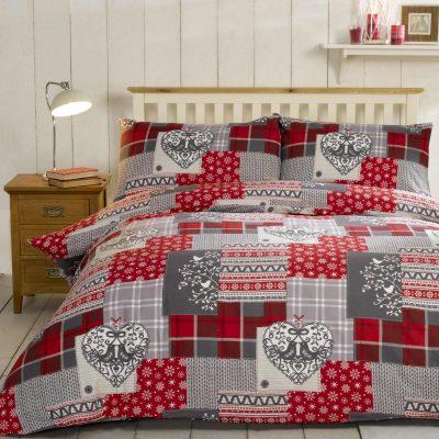 Pościel flanelowa patchwork Alpine Red