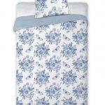 posciel satyna bawelniana bialo niebieska w aangielskie kwiaty 160x200