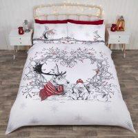 stag and friends posciel swiateczna zimowa dla dzieci mlodziezy bawelniana 140x200 bialo czerwona jelenie