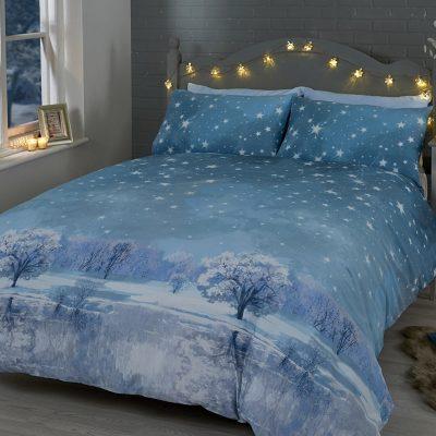 starry night blue posciel swiateczna niebieska w gwiazdy błękitna chłopięca młodzieżowa 200x200 bawelniana