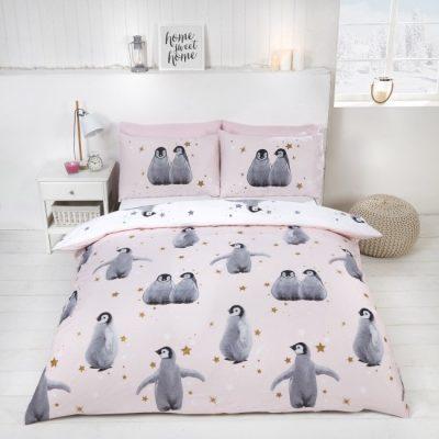 starry penguins rozowa posciel swiateczna na zime z pingwinami mlodziezowa 140x200