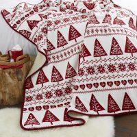 Nordic-Trees-Red- koc pled swiateczny w choinki w skandynawskim stylu