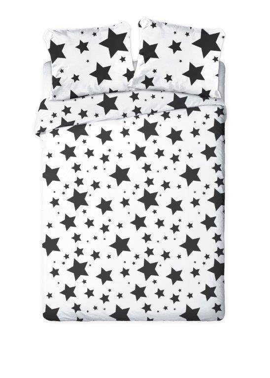 posciel dla nastolatkow mlodziezowa czarno biala w gwiazdy 160x200
