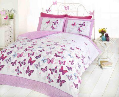 Pościel Różowe Motyle Flutter 140x200