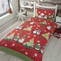 together at christmas posciel dla dzieci swiateczna czerwona z pingwinami