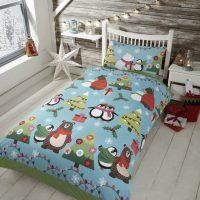 together at christmas posciel dla dzieci swiateczna niebieska z pingwinami