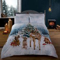 woodland christmas posciel swiateczna zwierzęta lasu kolorowa