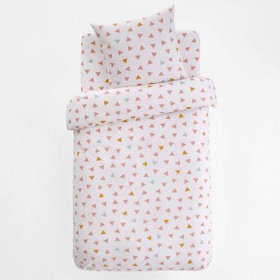 pastelowe roznokolorowe trojkaty posciel bawelniana dla dziewczynki 140x200