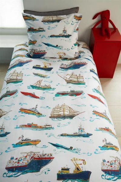 pościel bawełniana ships blue w statki